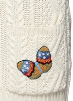 Embroidered butterfly cable knit cardigan