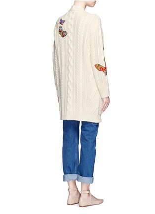 Valentino - Embroidered butterfly cable knit cardigan