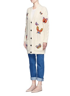 ValentinoEmbroidered butterfly cable knit cardigan