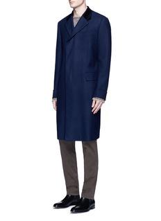 BoglioliVelvet collar wool-cashmere herringbone coat