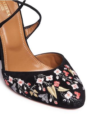 Aquazzura-'Karlie' floral embroidery suede pumps