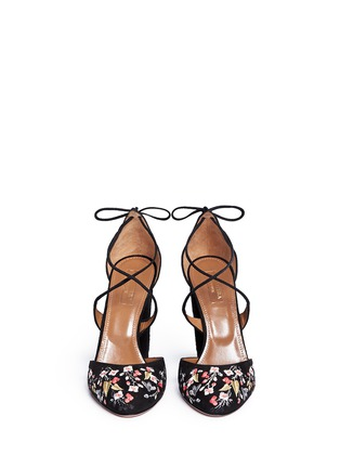 Front View - Click To Enlarge - Aquazzura - 'Karlie' floral embroidery suede pumps