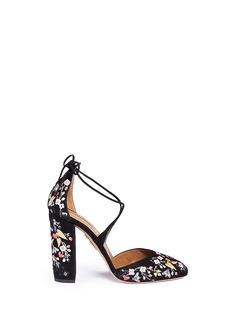 AQUAZZURA'Karlie' floral embroidery suede pumps