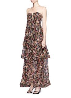 NicholasLayered floral print strapless silk dress