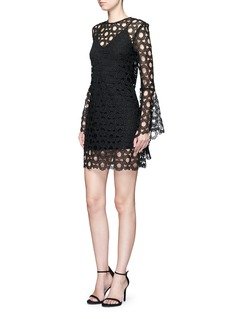 NicholasFloral wreath lace bell sleeve dress