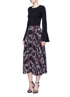 Nicholas Floral pleat chiffon midi skirt