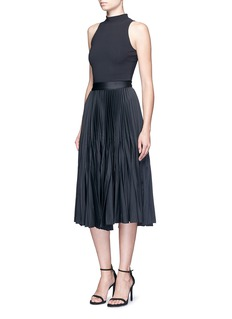 Nicholas Satin pleat midi skirt