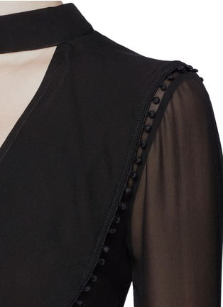Detail View - Click To Enlarge - Nicholas - Sheer pompom crochet ruffle silk blouse