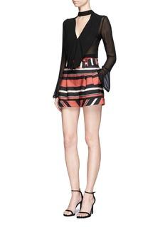 NicholasSheer pompom crochet ruffle silk blouse
