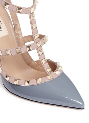 Detail View - Click To Enlarge - Valentino - 'Rockstud' caged patent leather pumps