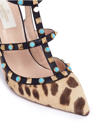Detail View - Click To Enlarge - Valentino - 'Rockstud Rolling' cabochon leopard print calfhair pumps
