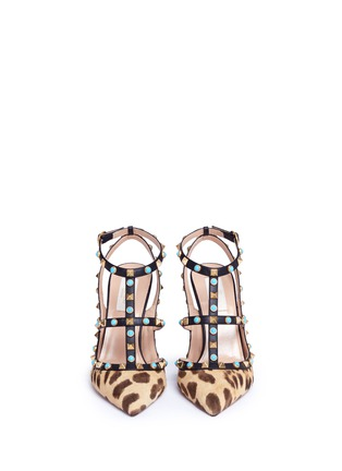 Front View - Click To Enlarge - Valentino - 'Rockstud Rolling' cabochon leopard print calfhair pumps