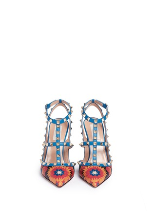 Front View - Click To Enlarge - Valentino - 'Rockstud' Enchanted Wonderland print caged leather pumps