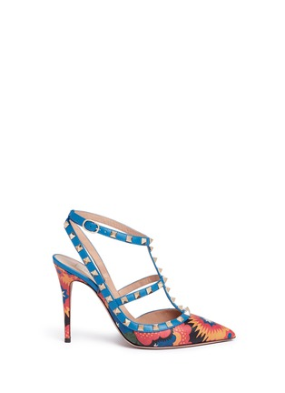 Main View - Click To Enlarge - Valentino - 'Rockstud' Enchanted Wonderland print caged leather pumps