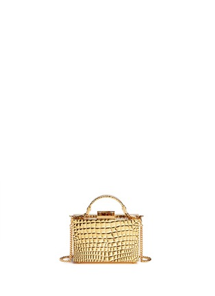 Back View - Click To Enlarge - Mark Cross - 'Grace Box Mini' 18k gold plated brass trunk