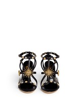 Metal stud caged leather sandals