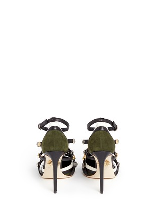 Back View - Click To Enlarge - FAUSTO PUGLISI - Metal stud appliqué leather trim suede pumps