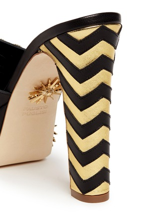 Detail View - Click To Enlarge - FAUSTO PUGLISI - Zigzag heel metal stud leather mule sandals