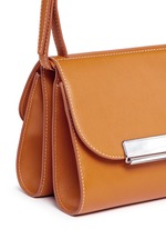 Pearlescent tab two-section leather shoulder bag