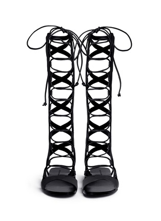 Front View - Click To Enlarge - Sigerson Morrison - 'Bright' knee high leather gladiator sandals