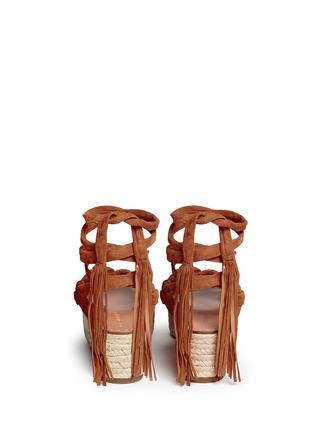 Back View - Click To Enlarge - Sigerson Morrison - 'Cosie' suede lace-up espadrille platform sandals