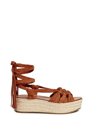 Main View - Click To Enlarge - Sigerson Morrison - 'Cosie' suede lace-up espadrille platform sandals