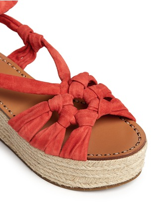 Detail View - Click To Enlarge - Sigerson Morrison - 'Cosie' suede lace-up espadrille platform sandals