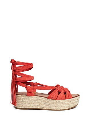 Main View - Click To Enlarge - Sigerson Morrison - 'Cosie' suede lace-up espadrille platform sandals