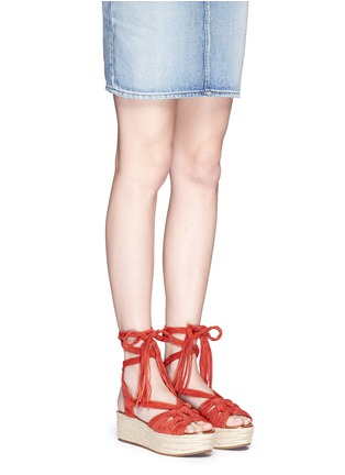 Figure View - Click To Enlarge - Sigerson Morrison - 'Cosie' suede lace-up espadrille platform sandals