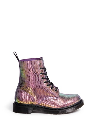 Main View - Click To Enlarge - Dr. Martens - 'Pascal' chromatic python print suede boots
