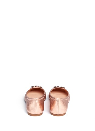 Back View - Click To Enlarge - Tory Burch - 'Reva' metallic leather ballet flats