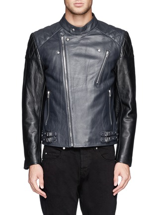 Detail View - Click To Enlarge - McQ Alexander McQueen - Stitched panel biker jacket