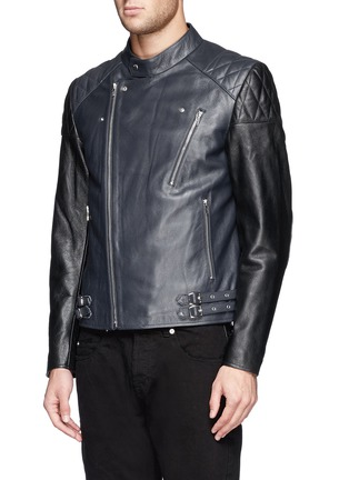 Front View - Click To Enlarge - McQ Alexander McQueen - Stitched panel biker jacket