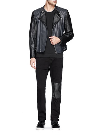 Figure View - Click To Enlarge - McQ Alexander McQueen - Stitched panel biker jacket