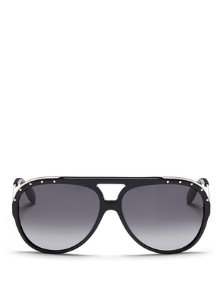 Main View - Click To Enlarge - Alexander McQueen - Metal temple stud aviator sunglasses