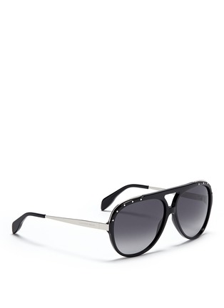 Figure View - Click To Enlarge - Alexander McQueen - Metal temple stud aviator sunglasses
