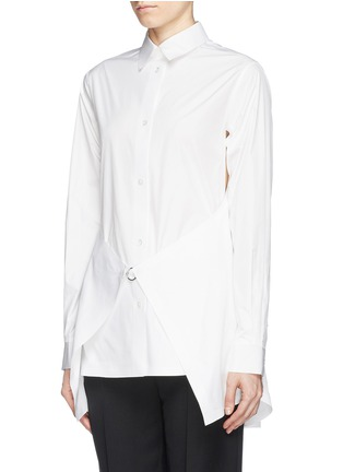 Front View - Click To Enlarge - Alexander Wang  - Paper thin wrap front tailored shirt