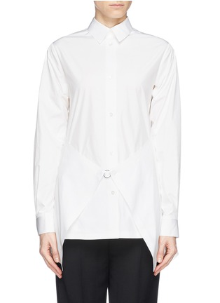 Main View - Click To Enlarge - Alexander Wang  - Paper thin wrap front tailored shirt