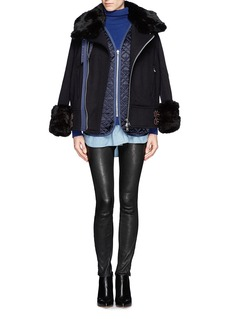 SACAI LUCK Rabbit fur trim wool biker jacket