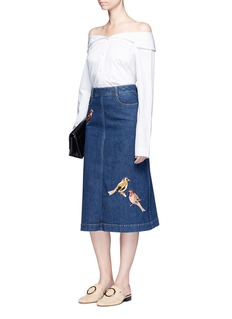Stella McCartneyBird embroidered denim skirt
