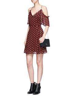 TopshopMetallic dot fil coupé cold shoulder dress