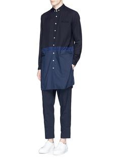 JohnundercoverMix fabric patchwork long shirt