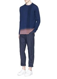 Johnundercover Ombré effect cable knit panel sweater
