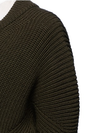 Detail View - Click To Enlarge - Alexander McQueen - Asymmetric wool rib knit jacket