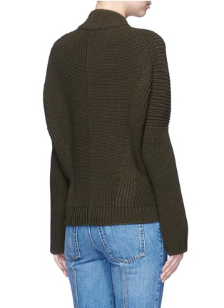 Back View - Click To Enlarge - Alexander McQueen - Asymmetric wool rib knit jacket