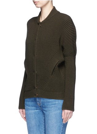 Front View - Click To Enlarge - Alexander McQueen - Asymmetric wool rib knit jacket