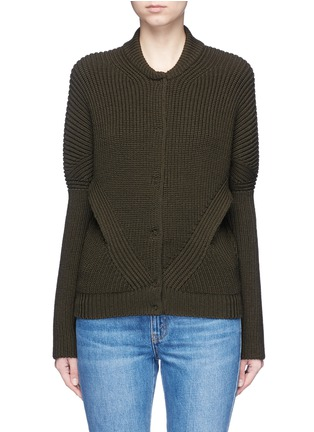 Main View - Click To Enlarge - Alexander McQueen - Asymmetric wool rib knit jacket