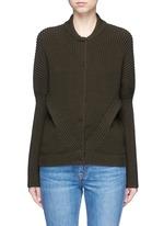 Asymmetric wool rib knit jacket