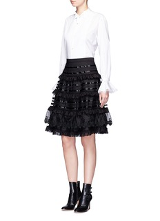 Temperley London 'Sea' fish lace tiered ruffle skirt