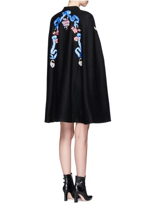 Back View - Click To Enlarge - Temperley London - 'Sail' anchor bird embroidered wool cape
